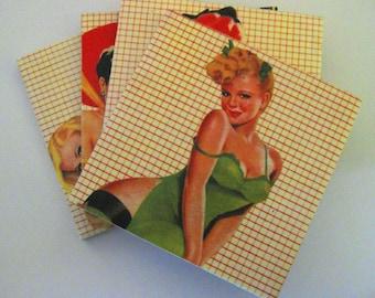 Coasters. Coaster set.  Pinup coasters. Coasters for men. Coasters for bachelors. 1940s pinups. Ceramic coasters. Tile coasters.