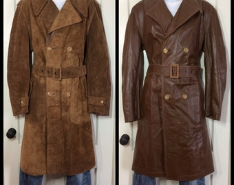 1970's Reversible Soft Leather Suede trench coat looks size Large to XL Brown belted double breasted made in Spain epaulettes