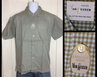1960's Deadstock light weight cotton short sleeve Shirt size Large NOS NWT Olive light blue gingham check plaid Van Heusen