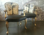 Hide chairs pair Louis French country style gilt gold arm club living room set March Madness 15% Off