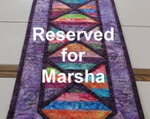 Reserved for Marsha Ayers Handcrafted quilted batik table runner rainbow colors purple trim