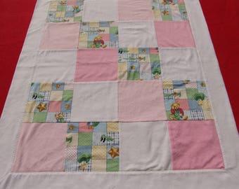 Self binding Baby Blanket - vintage teddies
