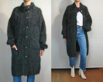 80s England Green + Wine MOHAIR Long Cardigan / Oversized Chunky Sweater Coat