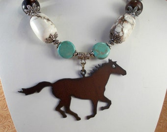 Cowgirl Western Necklace Set - Chunky White Brown and Turquoise Howlite - Runnning Horse Pendant