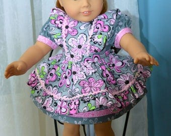 18 Inch Doll Clothes Two Piece Outfit Pink and Gray Print Short Sleeve Dress with Floral Print Pinafore by SEWSWEETDAISY