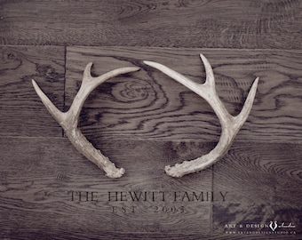 Antler Art, Rustic Home Decor, Family Name Wall Art, Rustic Deer Antler Family Name Sign, Personalized Print, Rustic Cabin Decor, Family Art