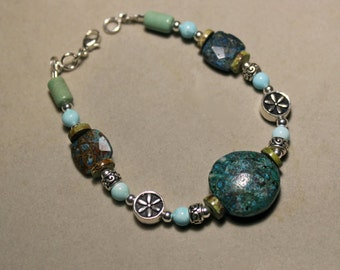 Azuzrite, turquoise, gaspeite and sterling silver bracelet by EvyDaywear