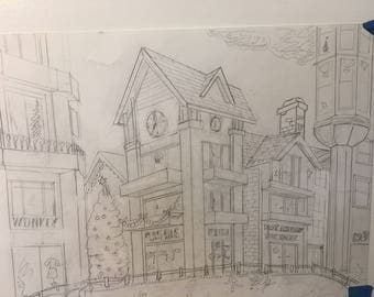 Sketch - Pencil - Center of town in Vail Colorado suring christmas