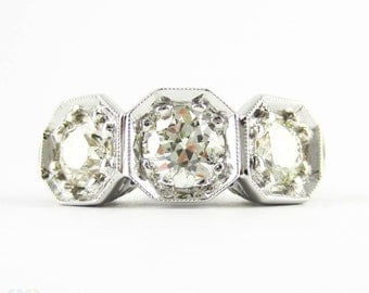 Old European Cut Diamond Engagement Ring, 1.90 ctw, Three Stone Ring. Antique Handmade Platinum Engraved Filigree Setting.