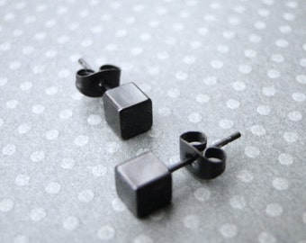 Black Box Stud Earrings / Metal Studs / Matte Black Stud Earrings / Jewelry / Black Accessories / Studs / Earrings / Matte Black Box