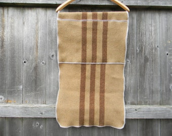 "Upcycled 100% Wool Puddle Pad Changing Mat Puddle Mat Travel Mat Crib Protector Camel/ Brown Stripes 37"" X 16"