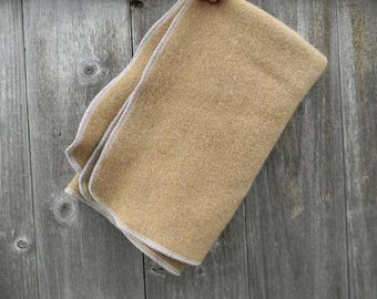 "Upcycled 100% Wool Travel Pad Puddle Pad Changing Mat Puddle Mat Crib Protector Camel  22,5"" X 16,5"""