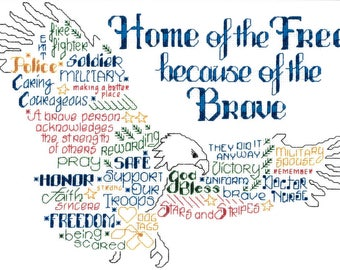 Counted Cross Stitch Pattern, Let's Be Brave, Cross Stitch, Americana Decor, Patriotic Decor, Imaginating, Ursula Michael, PATTERN ONLY