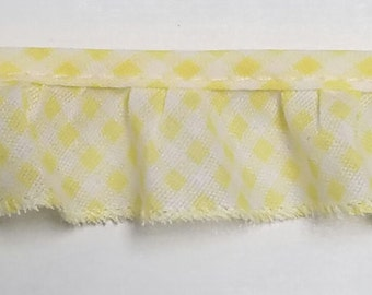 Gingham yellow ruffled cotton bias trim for baby blankets,couture,  home decor, 50 yards wholesale