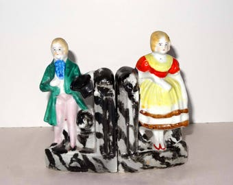 Victorian Man and Woman Porcelain Book Ends Made in Japan Home and Garden Home Decor