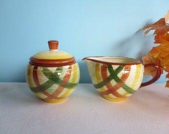 Vintage Vernonware Kilns Organdie Creamer and Covered Sugar Bowl