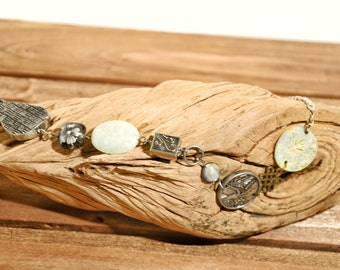 Abstract Mixed Media Necklace - Metal and Stone