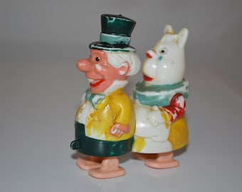 Vintage Mad Hatter and white hare ramp walker - Walt Disney Marx Toys - collectible plastic toy
