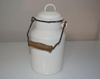 White enamelware pail - enamel bucket - water - milk - farmhouse - country graniteware vintage antique