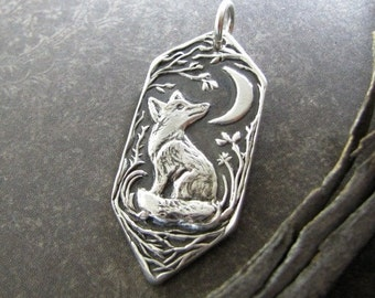 Bright Little Fox, Personalized Fine Silver Pendant, Handmade in Recycled Silver From Artisan Original Carving, by SilverWishes