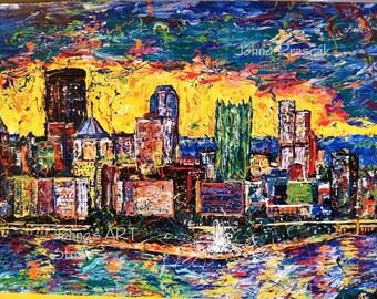 Pittsburgh wall art, Skyline art, Light up Night Pittsburgh, Modern wall art, Metal prints, Pittsburgh Artist, Johno Prascak