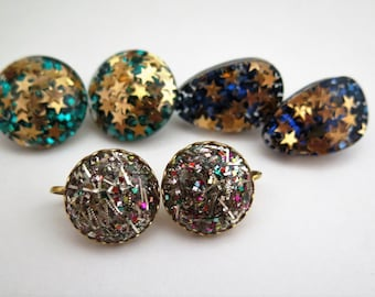 Lot 3 Pair Vintage Lucite Confetti Clip On Earrings