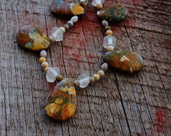 Brown, Gold, Brass, and White Jasper Necklace with Recycled Glass and Fossilized Coral Beads