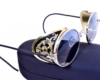 Steampunk Goggles Aviator Sunglasses Brass Side Shields Victorian engrave vintage Driving glasses Gradient Gray Shade