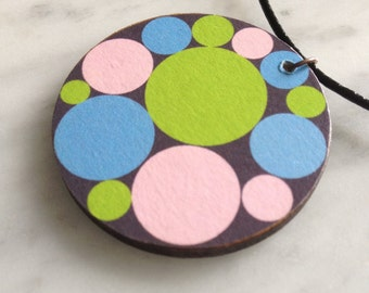 SALE 25% OFF - Round wooden pendant, lime green, sky blue, pastel pink circles on chocolate background, decoupage - style 28
