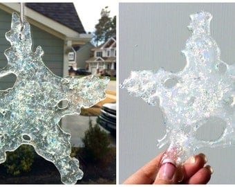 Large Fused Glass Dichroic Snowflake