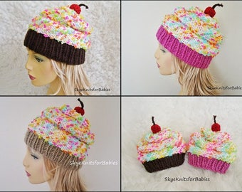Cupcake Hat, Knit Cupcake Hat, Knit Hat, Cupcake Beanie, Women Accessories, Slouchy Hats, Winter Hats