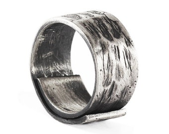 Mens Wedding Band Brushed Black Silver Personalized Adjustable Man Ring Jewelry