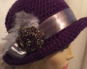 Downton Abbey Style Crocheted Hat...A Vintage Pin on a Purple Hat with a Lavender Satin Band and Feathers