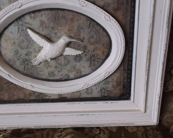 Shabby Hummingbird wall decor, shabby white and green paisley vintage inspired