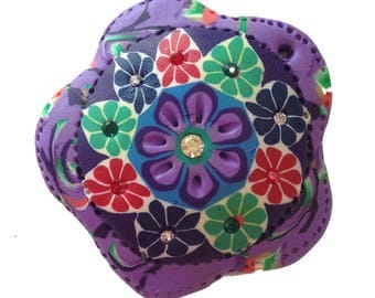 "Floral Magnet or Pin, Brooch, Purple Polymer Clay With Multicolor Flower Designs and Czech Rhinestone Accents, 50mm, 2"" Diameter"
