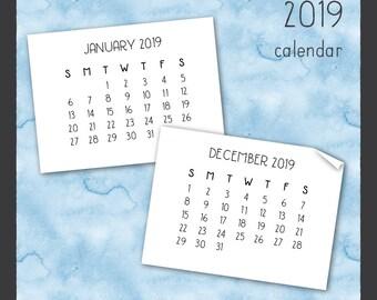 2019 Calendar Clip Art in Handwritten Font - Instant Download