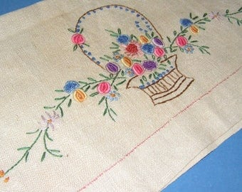 Vintage Embroidered Towel Unique 3D Thick Flowers In Basket Fancy Hand Guest