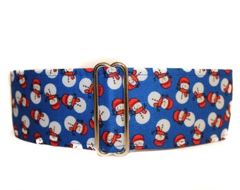 Christmas Martingale Collar, 2 Inch Martingale Collar, Snowman Dog Collar, Holiday Dog Collar, Holiday Martingale Collar, Whippet Collar