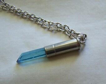 Aqua Aura Quartz Crystal Silver Bullet Jewelry Pendant