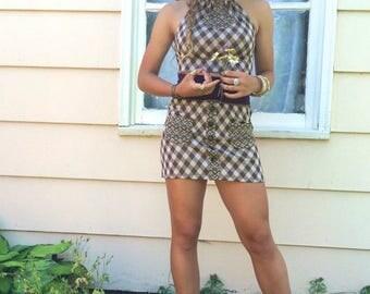 SALE Eco Twin Set, mini SKIRT/HALTER set,Size Xs/S,Eco Clothing,festival clothing,patchwork mini skirt,retro plaid mini skirt,hippy halter,
