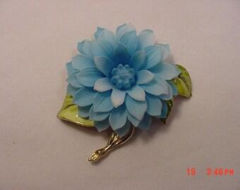 Vintage Blue Plastic & Metal Flower Brooch
