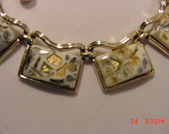 Vintage Coro Adjustable  Confetti Glass Necklace   16 - 662