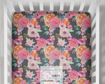 Indy Bloom Blush Grey Crib Sheet- Designer Minky Change pad Cover- Designer Minky- Floral Crib Sheet- Minky Floral Crib Sheet- Boppy Cover