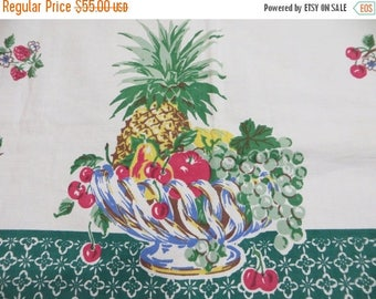 Going Out Of Business Vintage Startex Tablecloth-FRUIT BASKET-Classic 1950s-Hard To Find Pattern-Fruit-Cherries