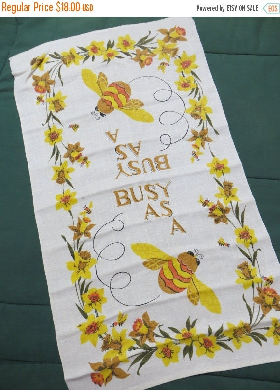 ON SALE Vintage Kitchen Tea Towel-Busy as a Bee-Mid Century-Eames-Whimsical-Unused