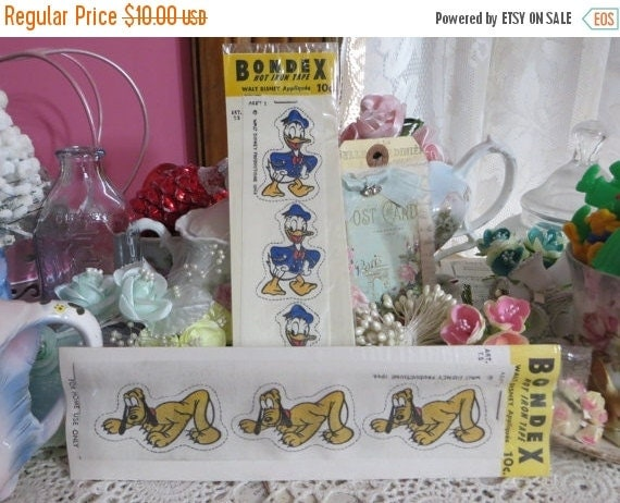 ON SALE Vintage 1946 Disney Bondex Iron-Ons-Donald and Pluto-Old Stock-New in Package