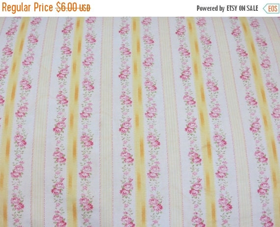 ON SALE Vintage Ticking Fabric-Pink Roses-Shabby Cottage Chic-Fat Quarter