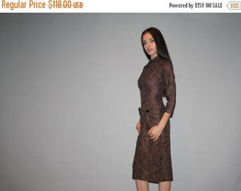 On SALE 40% Off - 1950s Vintage Brown Striped Bombshell Pinup Wiggle Dress - Vintage 50s Wiggle Dresses - Peter Pan Collar  -  - W00205
