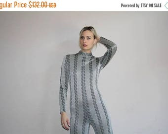 On SALE 40% Off - Leotard Vintage 70s Metallic Silver Disco Glam Rocker Jumpsuit - 1970s One Piece Romper - 70s Clothing - WV0256