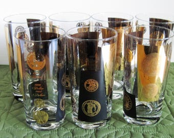 7 Vintage Mid Century Cera 22K Glass Highball Tumblers Black & Gold Old US Dollars Design